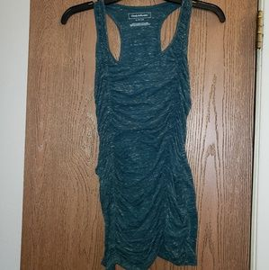Teal side ruche tank